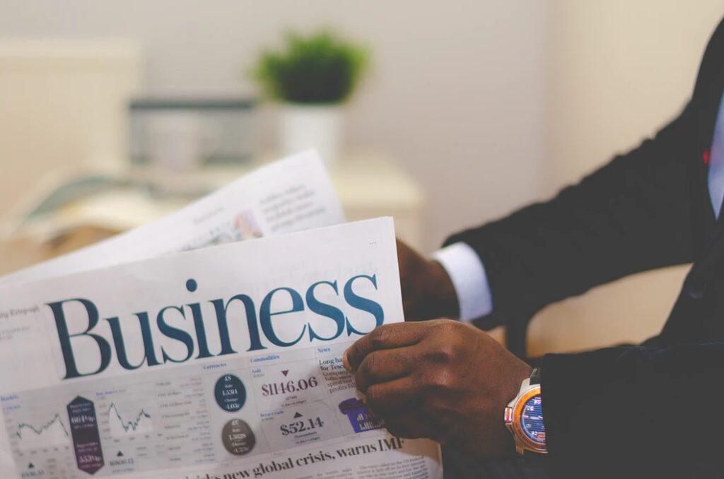 Man Reading a business newspaper